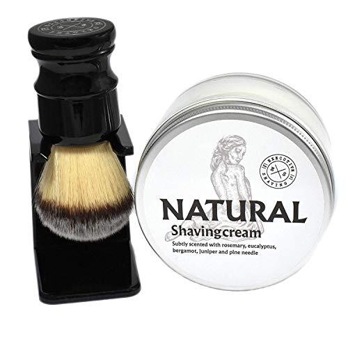 Executive Shaving Naturel Rasage Crème et Noir Poignée Synthétique Rasage Brosse avec Support