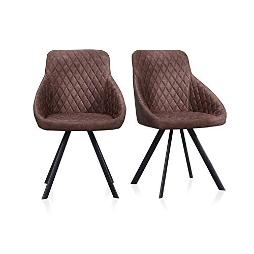 TUKAILAI 2pcs Faux Leather Dining Chairs Set Luxurious Reception Furniture Padded Seat Dining Chairs Innovative Office Chair Tub Chairs Restaurant Hotel Meeting Room Chairs Brown
