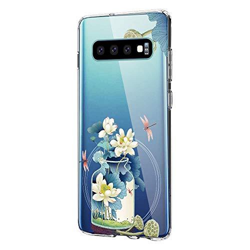 Hülle für Samsung Galaxy S10 Hülle Weich Silikon Handyhülle Blumen Schlank Floral Bumper Handytasche Flexible Schutzhülle Soft Back Cover Protective Gummi Dünn Abdeckung Cover für Galaxy S10 (3) -