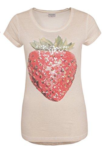 Stitch & Soul Damen T-Shirt mit Erdbeer-Print & Pailletten   Basic Print-Shirt aus Reiner Baumwolle Light-Rose XS (Vintage-t-shirt Freche)