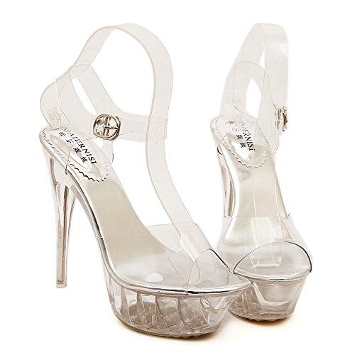 a224acafbbbf53 LINYI Femmes Stiletto Talons Artificielle PU Sandales Transparent High Heels  Stage Show Party 14 Cm