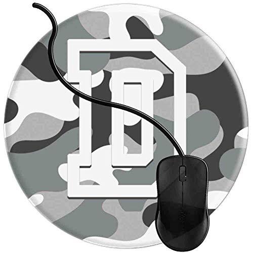 Mauspad Buchstabe D Militär Camo Camouflage Pattern Monogram, Runde Gaming Mauspad Matte Reibungslos Weich Rutschfester Gummi Basis für PC Laptop 1U2096