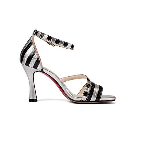 W&LM Signorina Tacco alto sandali vera pelle sandali Tendon bottom Tacchi alti Testa quadrata Bocca poco profonda scarpe di pelle Silver