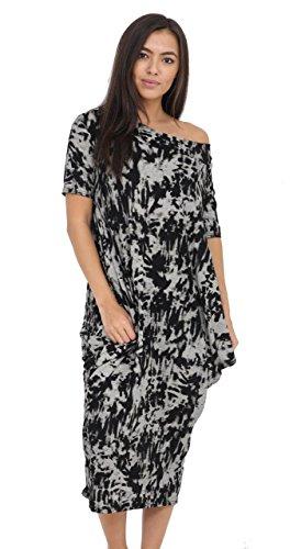 Rewatronics Damen Schlauch Kleid Gr. One size, Tye Dye Black (Dye Tye Kleid)