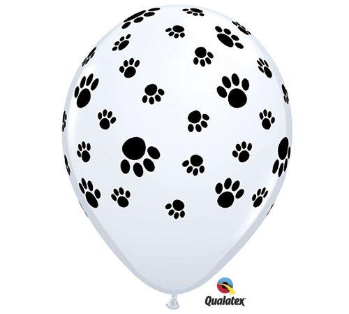 Qualatex (12) Paw Print Black White Dog Cat Puppy Kitty Birthday Party 11