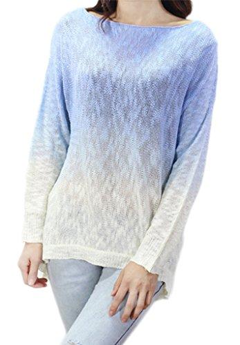 Bigood Femme Tops Couleurs Mélange Rond Col Bat Blouse Sweater Bleu Clair