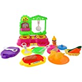NF&E Pink Kitchen Play Set With Lights & Sounds Kids Cooking Pretend Play Set 18 Pieces / Set