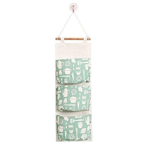 KFYOUXIN 1 STÜCK Wandbehang Speicherorganisator Baumwolle Leinen Stoff Grün Geschirr Muster Kindergarten Wäschesack Mit 3 Taschen für Schlafzimmer, Küche, Bad -