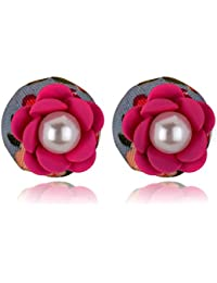 Spargz New Pink Rose Flower Party Double Side Pearls Stud Earring For Women AIER 731