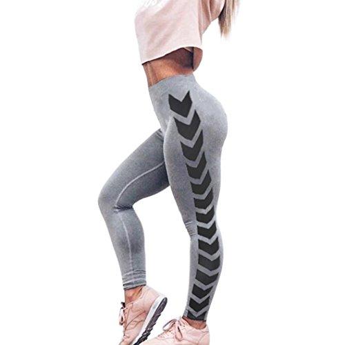 Damen Sporthose ,Sonnena Frauen Lady Arrow Print Yoga Skinny Workout Gym Leggings Fitness Sports abgeschnitten Hosen Casual Hohe Taille Leggings (M, Grau) (Hosen Engen Print-leggings)
