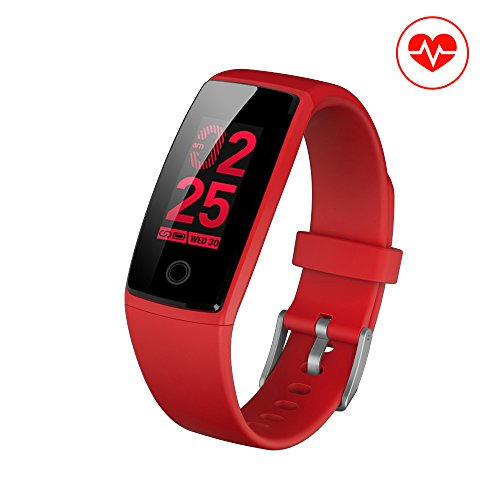 Fitness Tracker, JC Beauty NEW Technology Smart Watch Sport Band IP67 Waterproof with PHYSIOLOGICAL PERIOD REMINDER Heart Rate Monitor Smart Bracelet Wristbands Step Calories Counter (Red)