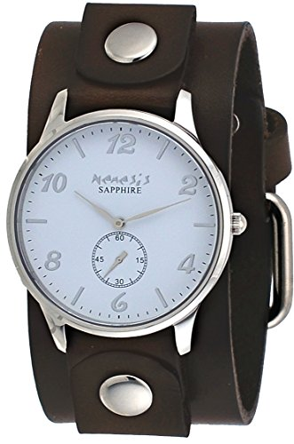 Nemesis DGB253W Women's Signature Sapphire Collection White Dial Wide Leather Band Watch