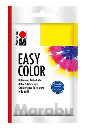 Marabu 17350022055 - Easy Color, Batik- und Handfärbefarbe für Baumwolle, Leinen, Seide und Mischgewebe, handwaschbar bis 30°C, sehr gute Lichtechtheit, nicht kochecht, 25 g, ultramarinblau dunkel