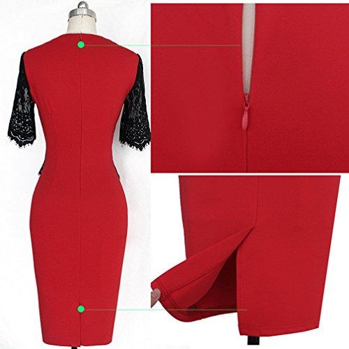 Bigood Robe de Mariée Femme Sexy Dentelle Manche Courte Cérémonie Soirée Cocktail Elégante Rouge