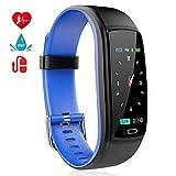 MINLUK Fitness Armband mit Pulsmesser Blutdruckmesser Fitness Tracker Wasserdicht IP67 Aktivitätstracker Schrittzähler Kalorienzähler Bluetooth Pulsuhren Schlafmonitor Stoppuhr Countdown