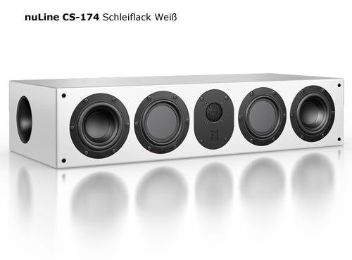 Nubert nuLine CS-174 Center-Lautsprecher 3-Wege (2x 12cm Tieftöner,2x 12cm Mitteltöner,2.6cm Hochtöner,150/230Watt,42-23000Hz) Stück, Lack Weiß