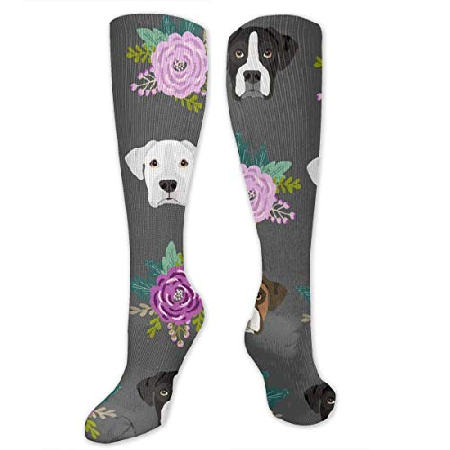 ouyjian Boxer Dogs and Flower Men's/Women's Sensitive Feet Wide Fit Crew Socks and Cotton Crew Athletic Sock -