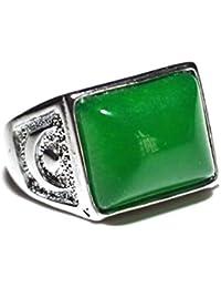Natural Jade hielo verde cuadrado anillo superficie verde piedra diámetro ...