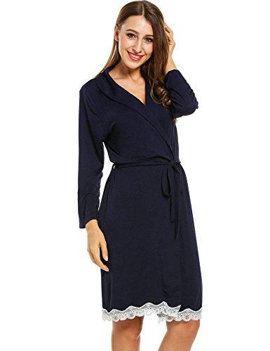 ZEARO Nouveau Style Femme Robe de Chambre avec Ceinture Chemise de Nuit en Coton Douce Vetement de Nuit 2 piece Bleu Marine