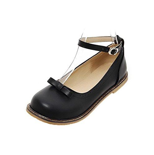 Voguezone009 donna fibbia senza tacco luccichio puro punta tonda ballet-flats, nero, 34