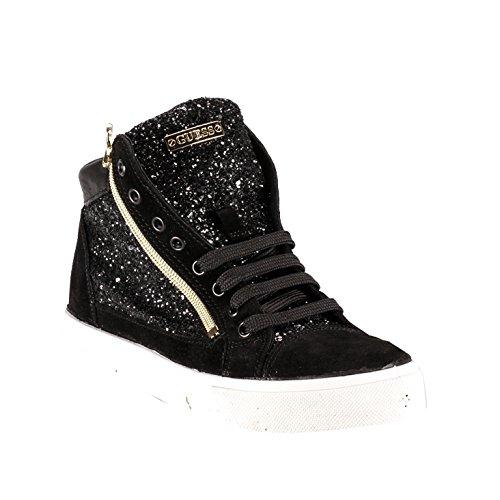 Scarpe Sneakers Donna Guess Mod. GUYA SNEAKER IN TESSUTO GLITTERATO FL3GUYFAM12 Col. Nero (35).