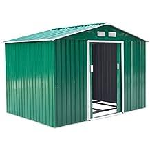 Outsunny Caseta de Jardín Tipo Cobertizo Metálico Verde/Amarillo para Almacenamiento de Herramientas 277x191x192cm (