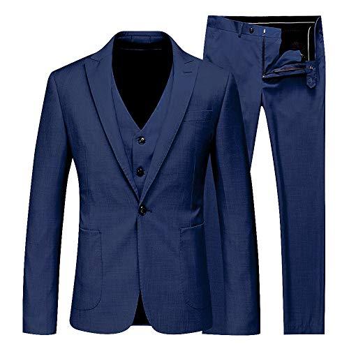 Rera Herren 3-Teilig Anzüge Business Hochzeit Smoking EIN Knopf Anzugjacke Anzugweste mit Anzughose Set Blazer Sakko Herrenmode - Herren Drei-knopf-blazer