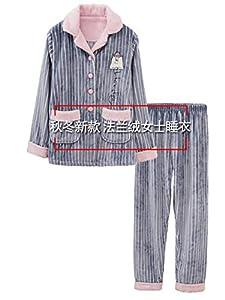 servicio doméstico: PAJAMASX Pijamas De Franela De Invierno para Mujer, Grueso Paño Grueso Y Suave D...