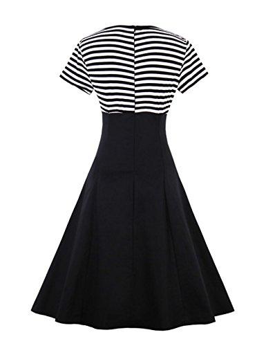 VKStar® Retro Herbst Abendkleid/Cocktailkleid mit Streifen Vintage 50er Rockabilly Swing Audrey Hepburn Kleid mit 1/2 Ärmel Schwarz1