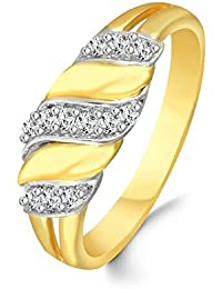 Classic Glittering Charm Diamond Studded Gold Plated Alloy & Brass Cz American Diamond Finger Ring For Women &...
