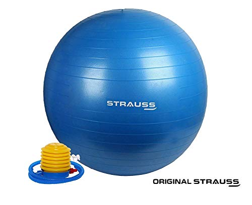 Strauss Anti Burst Gym Ball with Foot Pump, 75 Cm, (Blue)