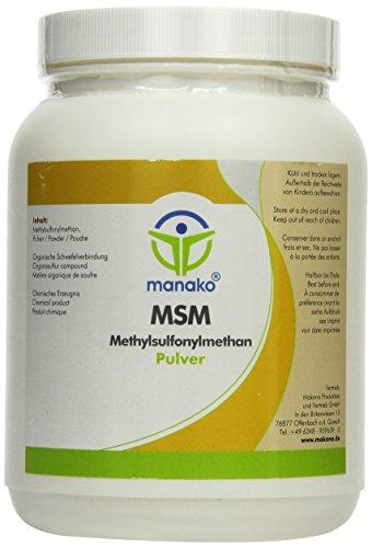 manako MSM (Methylsulfonylmethan) kristallines Pulver, Premiumqualität, 99,9% rein, 1000 g Dose (1 x 1 kg) Test