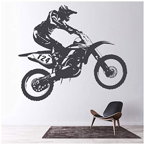 azutura Honda Dirt Bike Wandtattoo Motocross Motorrad Wand Sticker Jungen Schlafzimmer Dekor verfügbar in 5 Größen und 25 Farben X-Groß Gold Metallic (Gold Dirt Bike)