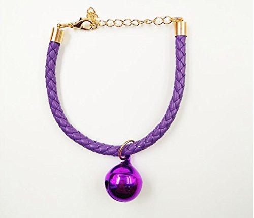 Einstellbare PU Haustiere Halsbänder mit Glocke Anhänger, -Morbuy- geeignet für Katzen und kleine Hunde, Teddy, Welpen, Haustier Lieferungen. (S, Lila) (Boxer Kuh)