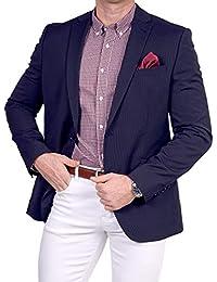 Unbekannt Herren Sakko Schurwolle Polyester klassisch Reverskragen Blazer  Zweiknopf Jackett Anzug Slim Fit bequem 356b37eb6e