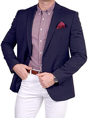 Unbekannt Unbekannt Herren Sakko feine Struktur klassisch Reverskragen Blazer Zweiknopf Jackett Anzug Slim Fit bequem, Größe 44, dunkelblau