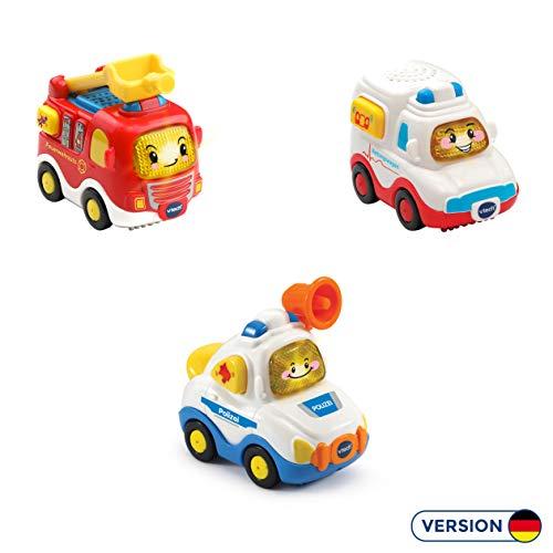 Vtech 80-242104 Tut Tut Baby Flitzer - 3er Set Einsatzfahrzeuge (Feuerwehrauto, Rettungswagen, Polizei), Babyautos, Mehrfarbig