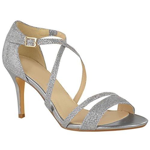 Fashion Thirsty Damen Sandalette mit Mittelhohem Absatz & überkreuzten Riemen - Silberfarben Metallic-Schimmer - EUR 37