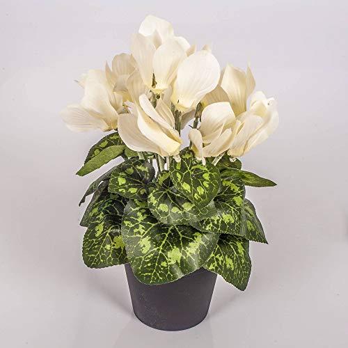 artplants.de Kunstblume Alpenveilchen im Topf, 12 Blüten, Creme, 25cm - Mini Kunstblumen - Dekoblumen klein