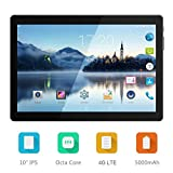 "Android 7.0 Nougat Tablet 10 Inch with Dual Sim Card Slots - 10.1"" 4G LTE Phablet Octa Core 3GB +64GB Unlocked Tablet PC with WiFi Bluetooth GPS Netflix Youtube (Black)"