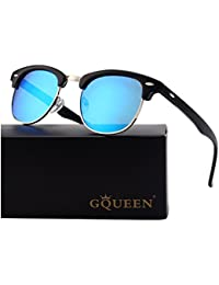 GQUEEN Clubmaster Horn Rimmed Half Frame Polarized Sunglasses GQO6