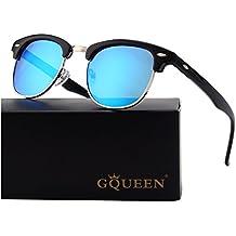 GQUEEN Bocina Clubmaster Wayfarer enculado Medio marco gafas de sol polarizadas GQO6