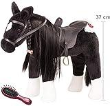 Götz 3402783 Cavallino da pettinare Morello - Cavallo Grande in Peluche per Bambole in Piedi - Altezza al garrese 37 cm - Cavallo Nero Alto 52 cm, Flessibile, con briglie e Sella