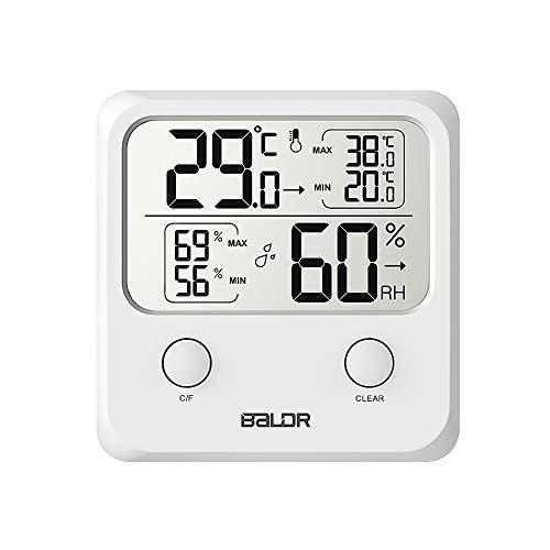 TEKFUN Thermometer Hygrometer Digitales Innen Thermo-Hygrometer Digital Luftfeuchtigkeit Messer mit LCD Schirm für Schlafzimmer, Büro, Wohnzimmer, Restaurants, Bars, Cafés. (Weiß1)