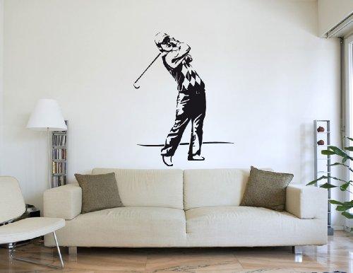 PrimeStick Wandtattoo Golfer Golfspieler beim Abschlag #177C braun 120cm x 159cm (RAL8017) -