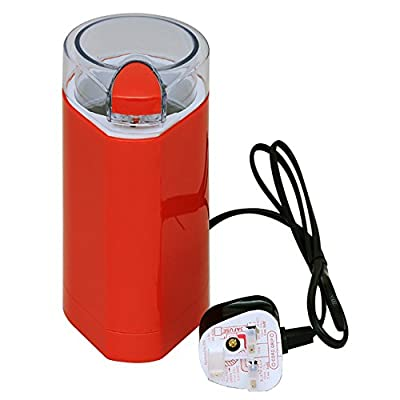 150W Electric Coffee Grinder Mixer Bean & Dry Spice Crusher in Red Color with Glass Lid