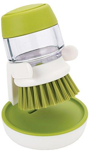 Joseph Joseph Palm Scrub Soap Dispensing Washing-Up Brush with Storage Stand - Green