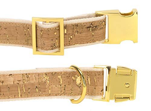 4 Nooks - Veganes Design Hundehalsband aus Baumwolle und Kork mit Gold, Größe S - 2