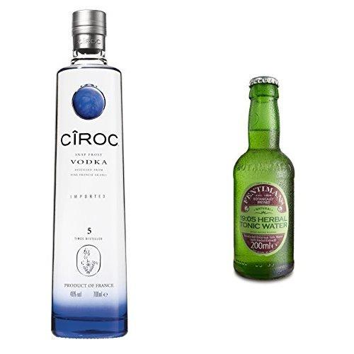 Ciroc Ultra Premium Vodka (1 x 0.7 l) mit Fentimans 19:05 Herbal Tonic Water, 12er Pack (12 x 200 ml)