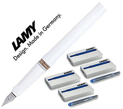 LAMY Füller SAFARI Füllhalter / Viele schöne Farben, auch im Set mit 20 Tintenpatronen in blau (Maxi mit 20 blauen Patronen, Weiß (M)19) (Lamy Füllhalter-set)
